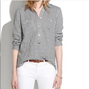 Madewell Gray Striped Slip It On Popover Tunic XS